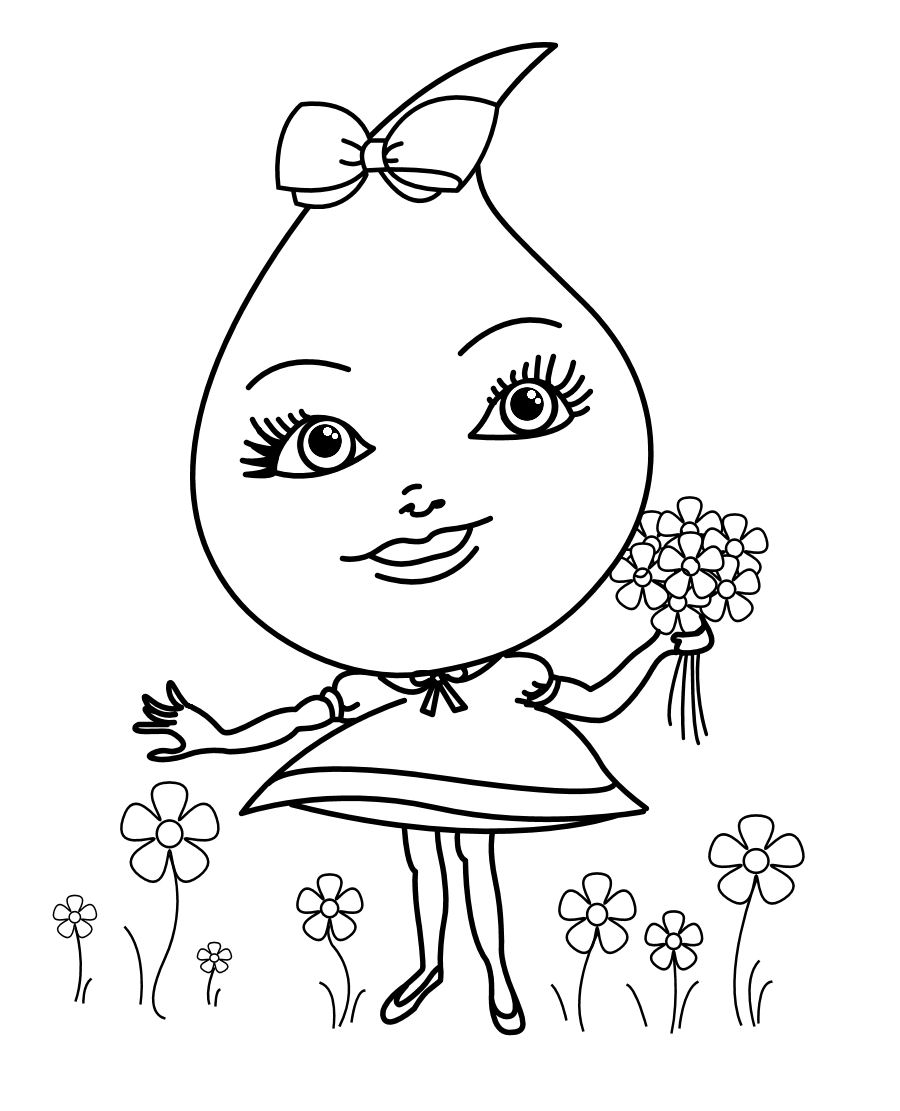 Free coloring pages of raindrop